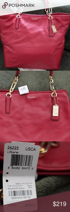 "Coach Madison Signature Leather Tote bag 100% AUTHENTIC  BRAND NEW WITH TAG  COACH MADISON SIGNATURE LEATHER NORTH SOUTH TOTE PURSE HANDBAG  STYLE #26225  ""Feminine chain details give this classic tote sophistication and polish.  COLOR: Ll/SCARLET  Features:  ·Water and stain resistant soft pebbled leather exterior in scarlet  ·Signature fabric interior lining  ·zip top closure  ·Inside zip pocket  ·multi-function pocket  ·Gold-toned hardware  ·Double leather handles with chain…"