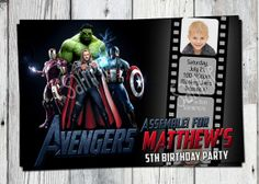The Avengers Birthday Invitation: Printable Super Hero Invite with Captain America, Hulk, Party Printables and other Invitations Available