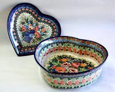 Polish pottery heart baker.