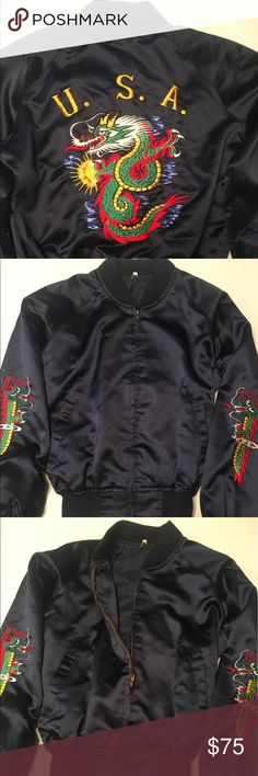 Vintage x Rare Korea USA Bomber Jacket!!! Size M Vintage and Rare USA Korea Bomber Jacket. It has a sweet Korea Dagon design all over the Jacket and it's in good condition. (I wish this was my size I'd keep it )  Size M korea Jackets & Coats Bomber & Varsity