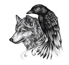 I found this from one website and i don't know how else i can put this here but i do love this and i could see myself have this kind of tattoo.... Wolf and raven... I hope i can find more of these kind of pictures to find that idea what i want. But i love the idea of wolf and raven tattoo.... really love it