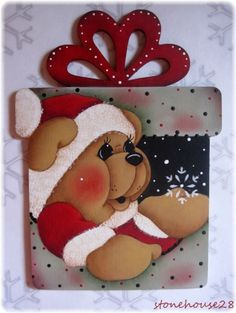 HP TEDDY BEAR Present FRIDGE MAGNET #Handpainted