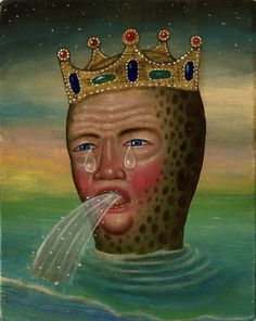 'Sea King' (2009) by American artist Fred Stonehouse (b.1960). Acrylic on panel, 9 x 7 in. via the artist's site