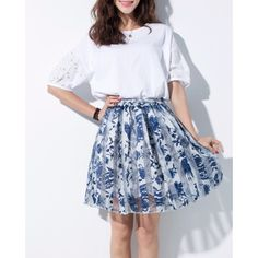 White Skirts With Flowers Printed K0006