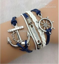 Wholesale 5pcs Rudder, Courage & Anchor Charm Bracelet in Silver - Wax Cords and Leather Braid Bracelet - Friendship Gift, Free shipping, $1.74/Piece | DHgate Mobile