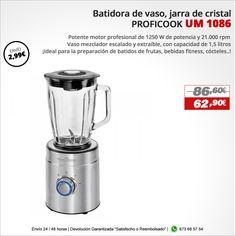 ¡Ideal para la preparación de batidos de frutas, bebidas fitness, cócteles..! Batidora de Vaso PROFICOOK UM 1086 http://www.electroactiva.com/proficook-um-1086-batidora-de-vaso-jarra-de-cristal-1-5-l-2-velocidades-turbo-1250-w.html #Elmejorprecio #Batidora #Chollo #Electrodomestico #PymesUnidas