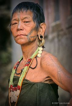 """A Laju Naga, woman living in Arunachal Pradesh, India, told me: """"My ancestors will only recognize me after I die because of my tattoos."""" Photograph © Lars Krutak 2007."""