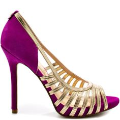 Claudine - Purple Multi Suede 10 - Climb your way up the social ladder in the Claudine. This beautiful creation by Ivanka Trump is made from soft purple suede and gold metallic straps. A slight inch platform flows with 4 inch - Purple Pumps, Purple Suede, Soft Purple, Crazy Shoes, Me Too Shoes, Dream Shoes, Suede Shoes, Shoes Heels, Gold Heels