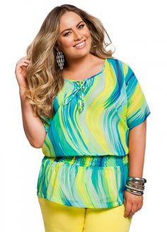 7e257fcb341 Ashley Stewart  Wavy Stripe Peplum Blouse PERFECT FOR ALL 4 BODY SHAPES! Plus  Size