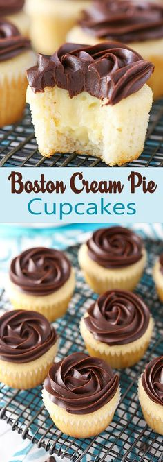Boston Cream Pie Cupcakes #recipes #recipe #cupcake