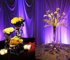 Loving how these #centerpieces pop with background purple #uplighting! Photo via #ModWedding