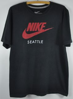 NIKE seattle spell out black Large shirt by ArtForVintage on Etsy