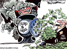 Milt Priggee - www.miltpriggee.com - Health Cuts - English - the rich, wealthy, AHAC, healthcare,Trump, GOP, conservatives, republicans, Trumpcare, Obamacare, tax cuts, ACA,