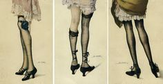 Gorgeous postcards by French artist Leo Fontan (1883-1965), featuring darling stockings and shoes. I especially love the centre illustration. ♥Z
