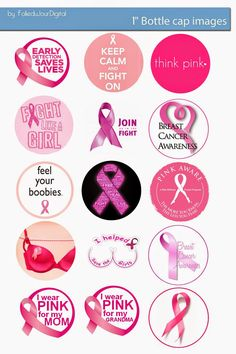 "Free Bottle Cap Images: Breast Cancer pink ribbon Awareness free bottle cap 1"" images"