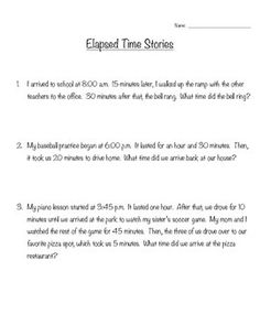Five elapsed time problems ranging in difficulty.  Perfect for a quick warmup or independent practice.