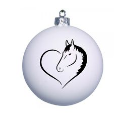 White Christmas bauble with horse design. Ad a name to the bauble for FREE!