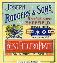 Joseph Rodgers and Sons Ltd , Cutlery Manufacturer, 6 Norfolk Street - extract from catalogue Old Commercials, Retro Advertising, Sheffield, Etiquette, Norfolk, Cutlery, Old And New, Yorkshire, Wales