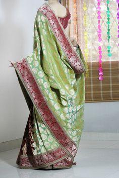 Green Banarsi Silk Saree With Red Border