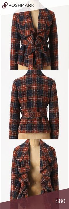 Tabitha Tartan Boucle Blazer by Anthropologie Sz 4 Size 4. Missing belt. Polyester and wool blend shell. New with Tags. As seen in Pitch Perfect. Nubby wool and a cascading placket. Anthropologie Jackets & Coats Blazers