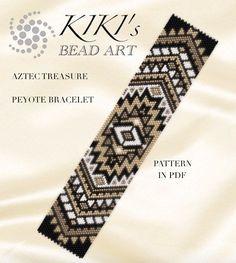 Peyote pattern for bracelet Aztec treasure peyote bracelet Bead Loom Bracelets, Peyote Beading, Beaded Bracelet Patterns, Embroidery Bracelets, Peyote Stitch Patterns, Bead Loom Patterns, Beading Patterns, Bijoux Diy, Loom Bracelets