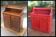 Before & After using the Amy Howard at Home Shaw Red One Step Paint #amyhowardathome  www.amyhowardhome.com