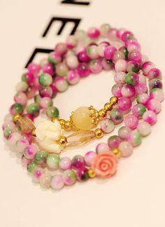 flowers retro crystal bracelets - - http://zzkko.com/n123705-lephant-spring-flowers-Korean-version-of-retro-fashion-natural-crystal-bracelets-jewelry-bracelet-female-multi-.html $5.50