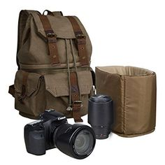 S-ZONE Canvas DSLR SLR Camera Shoulder Bag Backpack Rucksack Bag With Waterproof Rain Cover For Sony Canon Nikon Olympus ** undefined #BagsCases