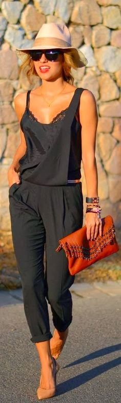 Sexy Black and cozy blouse with loose pant and stu...