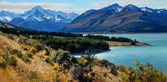 Lake Pukaki and Mt. Cook by Josh Elliott Oil ~ 18 x 36