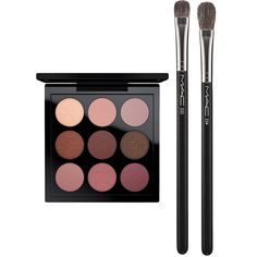 MAC Eye Shadow Burgundy Times Nine Set ($82) ❤ liked on Polyvore featuring beauty products, makeup, eye makeup, no color, mac cosmetics makeup, gloss makeup, eyeshadow brushes, blender brush and mac cosmetics