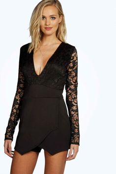Tall Sarah Wrap Front Lace Sleeve Skort Playsuit