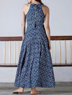 Buy Indigo Yellow Button Detailed Natural Dyed Block Printed Flare Maxi Dress Cotton Online at Jaypore.com Kurti Neck Designs, Kurti Designs Party Wear, Blouse Designs, Stylish Dresses, Casual Dresses, Fashion Dresses, Indian Attire, Indian Outfits, Kalamkari Dresses
