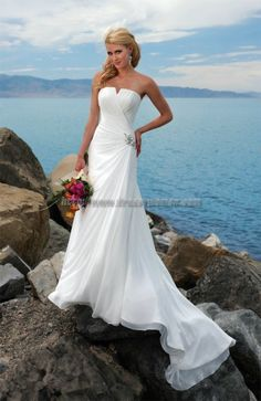 Buy A-line Sweetheart Elegant Style Satin Wedding Dresses SAWD-30259 with Crystal Wedding Dresses under $313.99 only in Dressywomen.