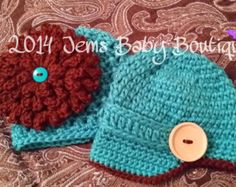 Cute Crochet Fraternal Twin Hats, Infant Boy Hat with wood button, girl hat w/large brown flower, Photo Prop Beanie