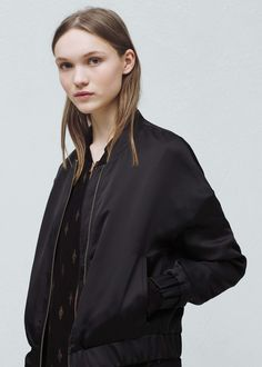 Satin bomber jacket -  Women | MANGO      Short bomber with long dress. See other views