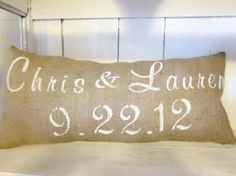 Burlap pillow personalized custom pillow by 112FarmhouseLayne, $36.00