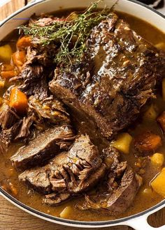 Pot Roast - #slowcookerpotroast - Recipe VIDEO above. The ultimate one-pot family meal! Meltingly tender slow cooker beef and vegetables smothered in a gravy like sauce - because it's so much tastier than just a watery broth! I like to make this in my slow cooker but I've also added directions for pressure cooker, stove and oven....