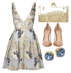"""GOLD ONE"" by emmadaisy23010 on Polyvore featuring Notte by Marchesa, Gianvito Rossi and Tory Burch"