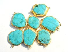 1Pc 24K Gold Electroplated Edge Howlite by RareGemsNJewels on Etsy