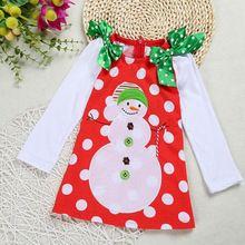 2016 Merry Christmas Baby Girls Dress Children 2-7Yrs Girls Bow Snowman Clothing Long Sleeve Kids clothes Dot Dress Tutu Dress(China (Mainland))