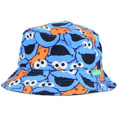 Sesame Street Cookie Monster Sublilmated Bucket Hat ❤ liked on Polyvore featuring accessories, hats, sesame street, fishing hat, sesame street hats, fisherman hat and bucket hats