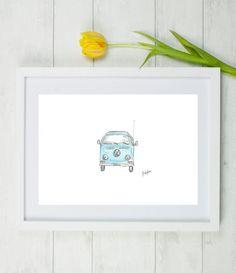 VW Campervan print, VW Campervan, VW, Campervan, vw camper van, volkswagen campervan, wedding present, blue vw camper van, holiday