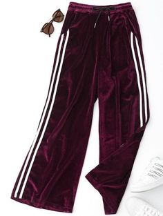 SHARE & Get it FREE | Side Stripe Velvet Pants - Purplish RedFor Fashion Lovers only:80,000+ Items • New Arrivals Daily Join Zaful: Get YOUR $50 NOW!