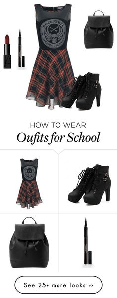 School... by leeta01 on Polyvore featuring Elizabeth Arden, NARS Cosmetics and MANGO
