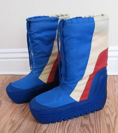 Moon Boots in the 70's.  Actually pretty comfy and warm, but bulky.