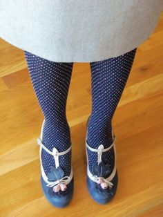 Anthropologie Pindot Tights and Budding T-Straps