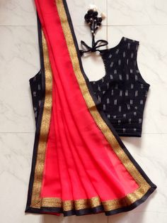 Self stitched ikkat blouse with selfdesigned neon saree