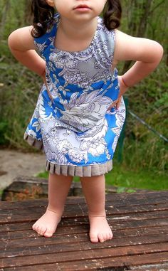 Linen and Cotton Flower Toddler Halter Dress and Panty Set - handmade baby girl size dress with ruffle. $30.00, via Etsy.