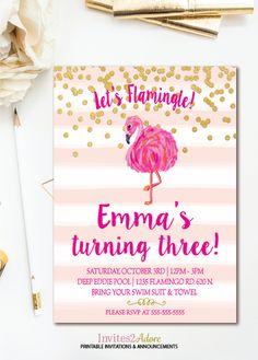 Pink Stripe Confetti Flamingo Birthday Invitation - Let's Flamingle - Flamingo Party - Flamingo Pool Party Invite - Printable Invitation